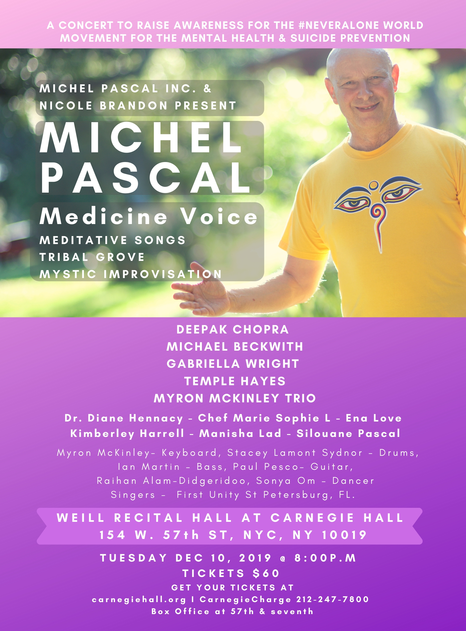 Michel Pascal Carnegie hall dec 10 with deepak chopra