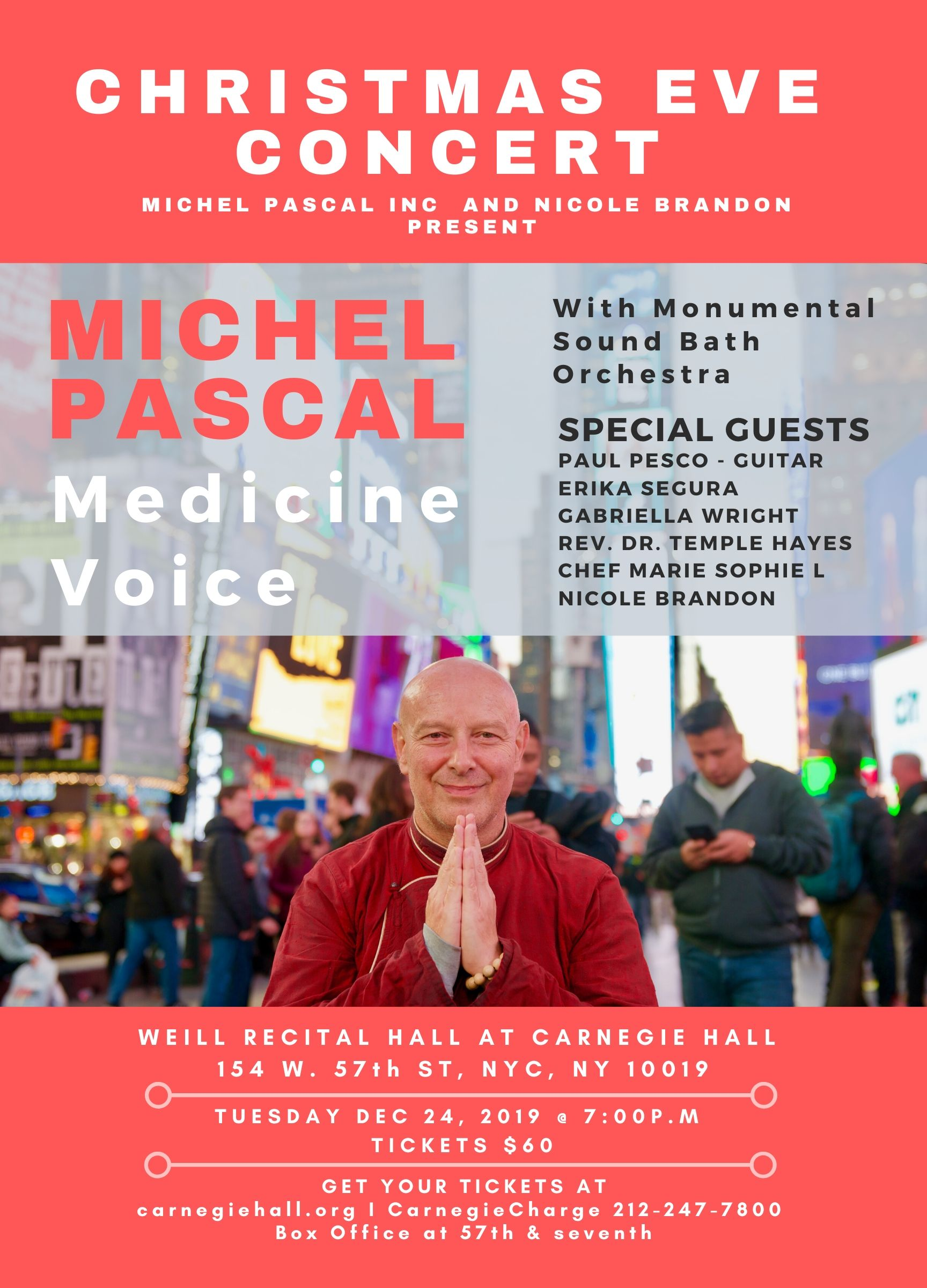 Michel Pascal Poster Carnegie hall dec 24 Christmas Eve